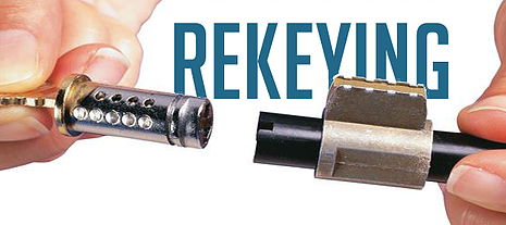 Photo of a lock cylinder removed from the lock in preparation for the rekey process
