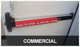 Image of a commercial door with a panic bar installed
