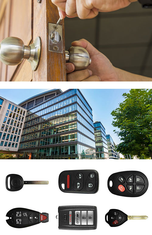 images from top to bottom: Residential door lock repair, commercial office building, and car key fobs and remotes